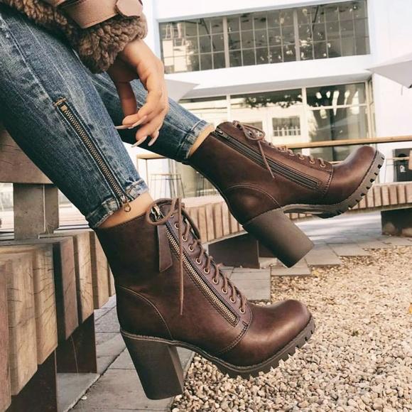 Boots Chunky Heel Lug Sole Platform
